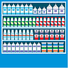Supermarkt-Regale mit Milchprodukten | Stock Vektrografik