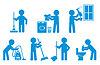 Set icon Reinigung mit Figur Menschen