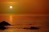 ID 3696139 | Pomarańczowy zachód słońca nad morzem ze skały | Foto stockowe wysokiej rozdzielczości | KLIPARTO