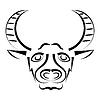 abstrakter Silhouette bull `s Kopf.