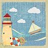 Weinlesepostkarte mit Yacht, Leuchtturm und Lenkrad.
