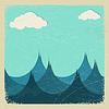stürmischen Meer und Wolken von Papier.