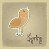 Vintage-Postkarte mit Bild chick. Frühling Motiv.