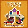 Vintage-Karte und Bild von altem Spielzeug - Einladung i