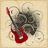 Vintage Papier Hintergrund mit einer elektrischen Gitarre
