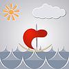 Cartoon Zeichnung kleines Schiff durch die Wellen