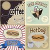Set von Vintage-Karten mit Fast-Food