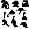 Satz von Silhouetten mittelalterlicher Militärhelmen