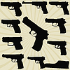 Set of silhouettes of pistols | Stock Vector Graphics