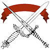 Vector clipart: Vintage crossed daggers and red tape. Tattoo