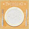Vintage-Karte - Restaurant-Menü - mit Platten,