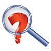 Fragezeichen unter Vergrößerungsglas | Stock Vektrografik
