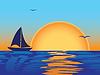 Meer Sonnenuntergang mit Boot silhouette | Stock Vektrografik