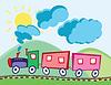 Dampflok und Wagen | Stock Vektrografik