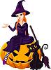 Halloween-Hexe auf Kürbis
