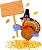 Thanksgiving-Truthahn holding Zeichen