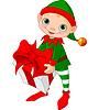 Weihnachts-Elfe mit Geschenk