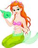 Schöne Meerjungfrau mit Muschel