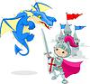 Ritter kämpfen Drachen