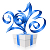 blue ribbon in shape of 2013 and gift box