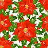 Бесшовный фон из рождественских цветов | Векторный клипарт
