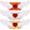 Liebesbrief mit Flügeln und Wachssiegel