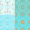 Nahtlose blauen Zierstreifen floralen Mustern