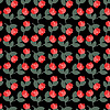 Red and green floral pattern on black background | Stock Illustration