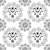 Black and white seamless damask Blumenmuster | Stock Illustration