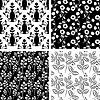 黑色和白色的图案收集 | 向量插图