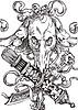 Vignette mit Tierschaedel, Pfeil und Bogen