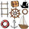 Set der marinen Objekten