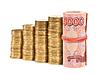 Russische Rubel-Banknoten und-Münzen | Stock Foto