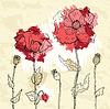 Rote Mohnblumen auf zerknitterte Papier Hintergrund | Stock Vektrografik