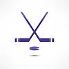 Хоккейная клюшка и шайба Иконка | Векторный клипарт