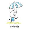 Mann unter einem Regenschirm