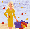 Autumn Shopping blonde Mädchen. Illustration