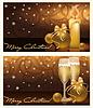 Zwei goldene Weihnachten Banner