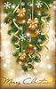 Weihnachtskarte mit goldenen Kugeln, Vektor