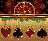 Weihnachten poker rot goldenen Hintergrund, Vektor