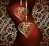 Liebe Hintergrund mit zwei goldenen Herzen, Vektor