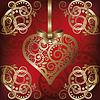 Liebe Postkarte mit goldenen Herzen, Illustration