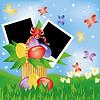 Ostern-Grußkarte mit zwei Rahmen für Foto. Vektor