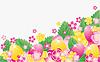 Ostern Banner mit Eiern und Blumen,
