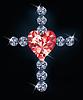 Diamant-Kreuz mit Herzen