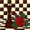 Schach-Königin und rote Rose. Vektor-Illustration