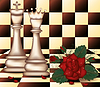 White Chess Queen und King mit roter Rose vector