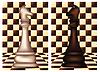 Weiß und Schwarz Schach Pferd, Vektor-Illustration