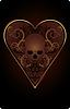 Poker Herz Karte mit Schädel, Vektor-Illustration