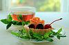 Ciasto z owocami i herbaty | Stock Foto